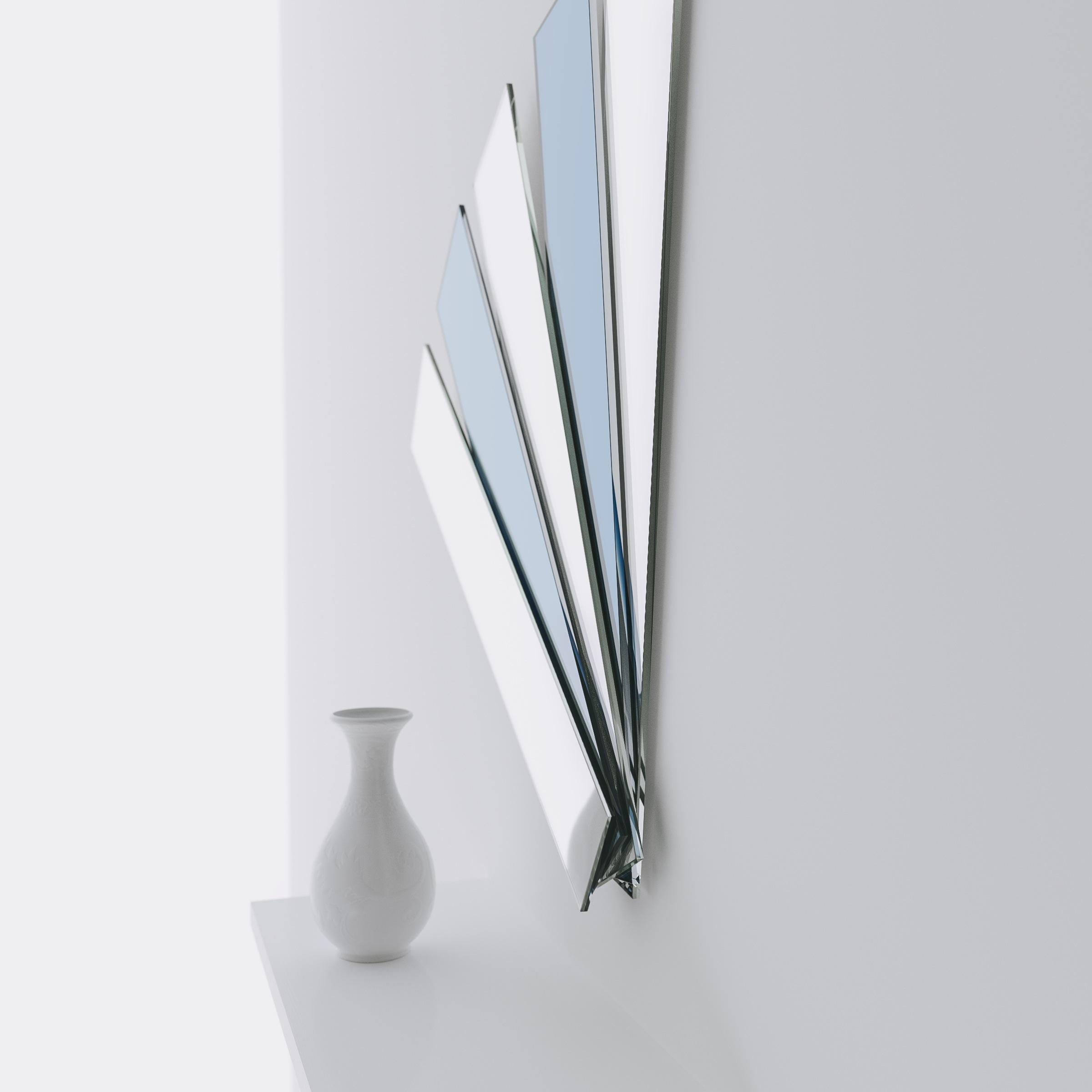 Blue Art Deco Wall Mirror