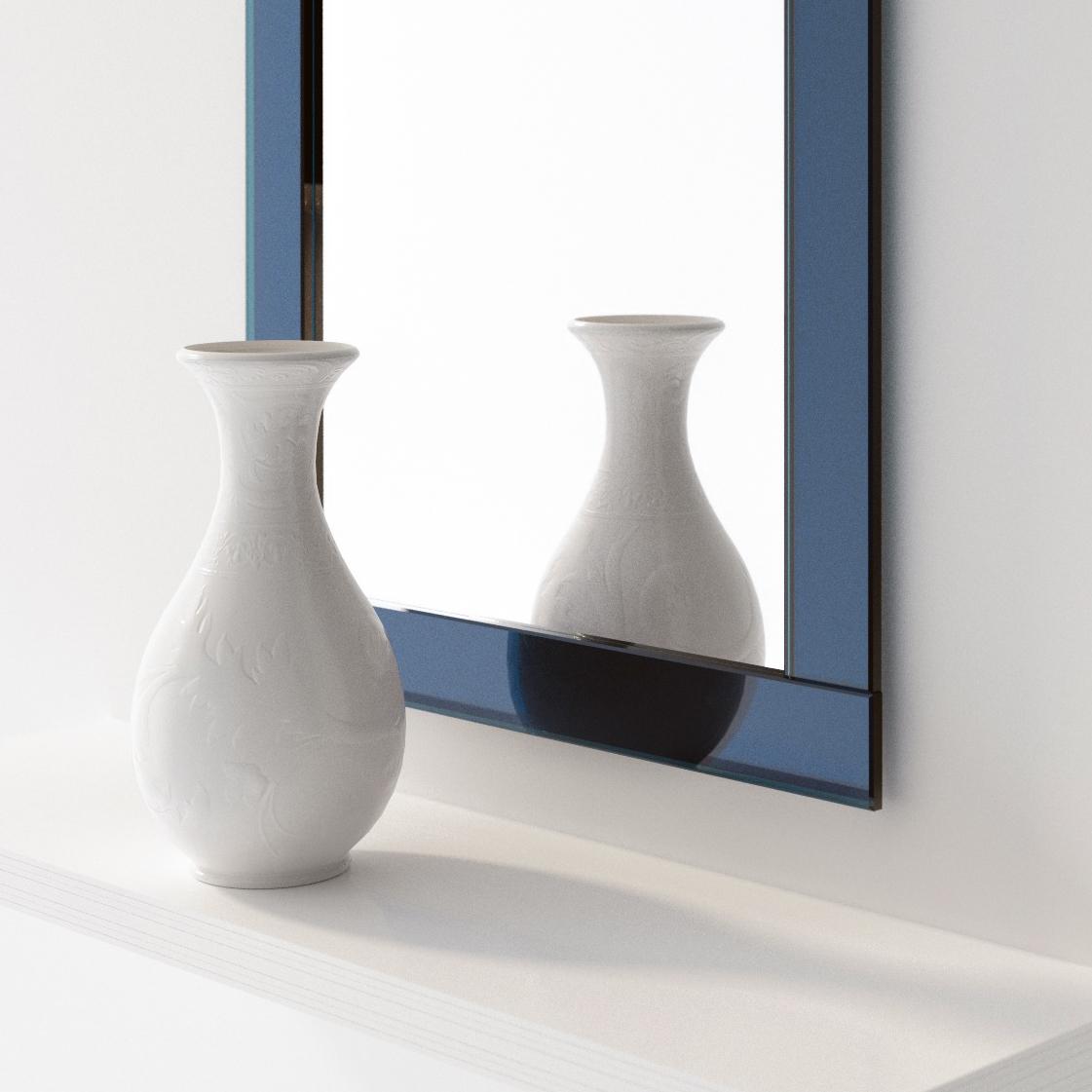 Deco wall mirror with blueglass mirror photographedat Color & Mirror studio in Detroit.