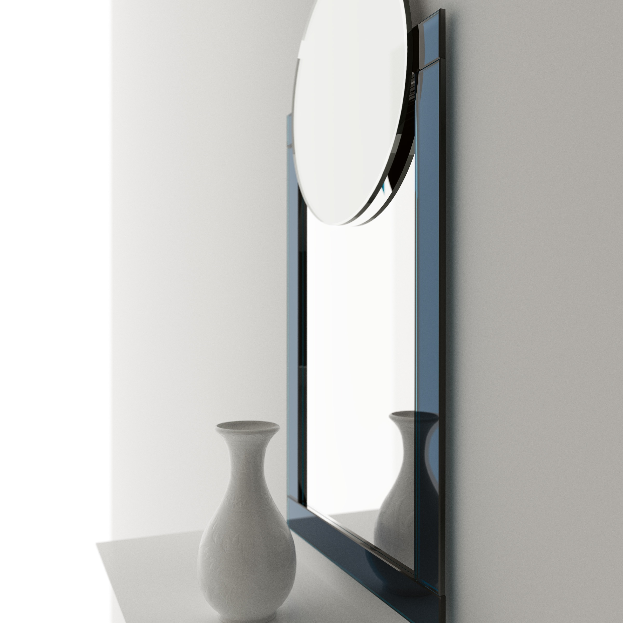 Side view of Art Deco hanging wall mirror by Color & Mirror.
