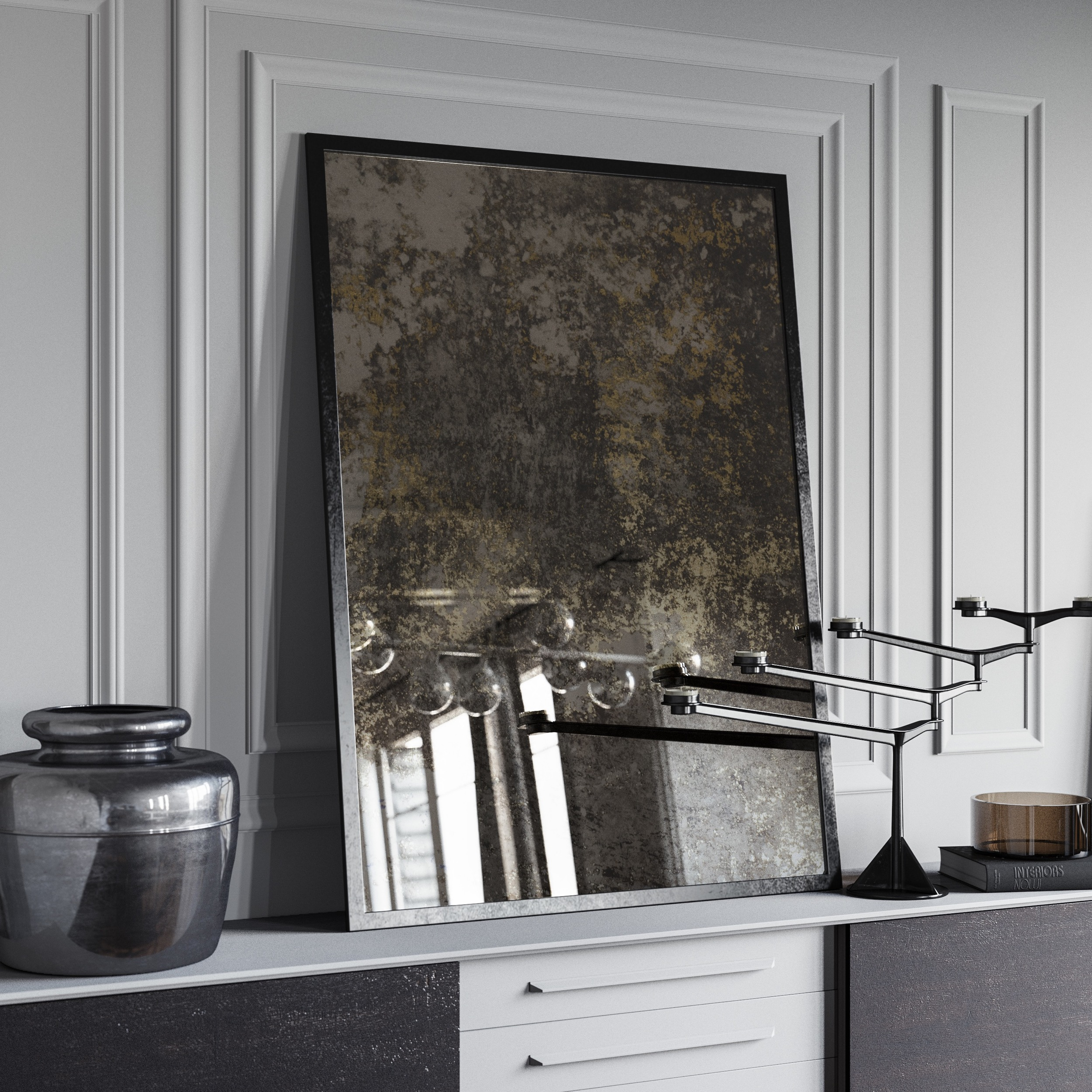 Side view of framed wall mirror