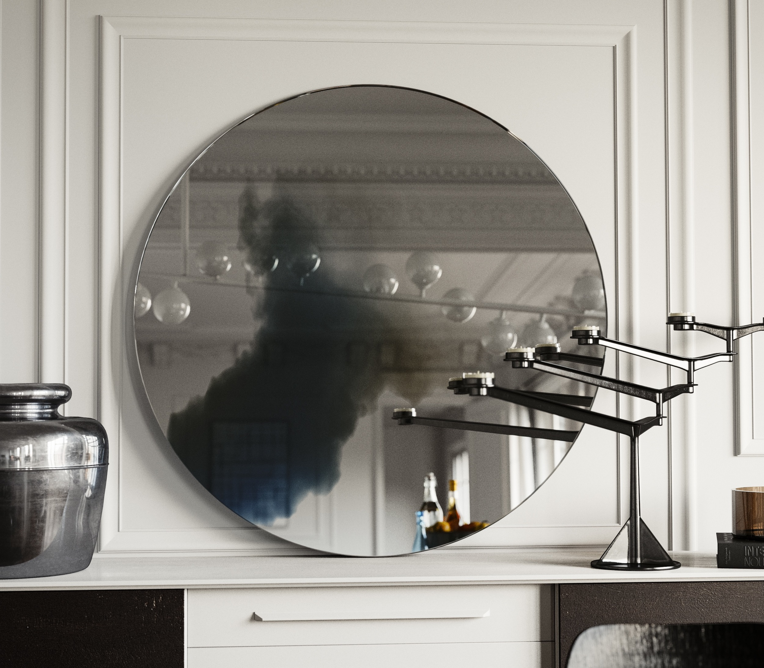 Close view of colorful wall mirror