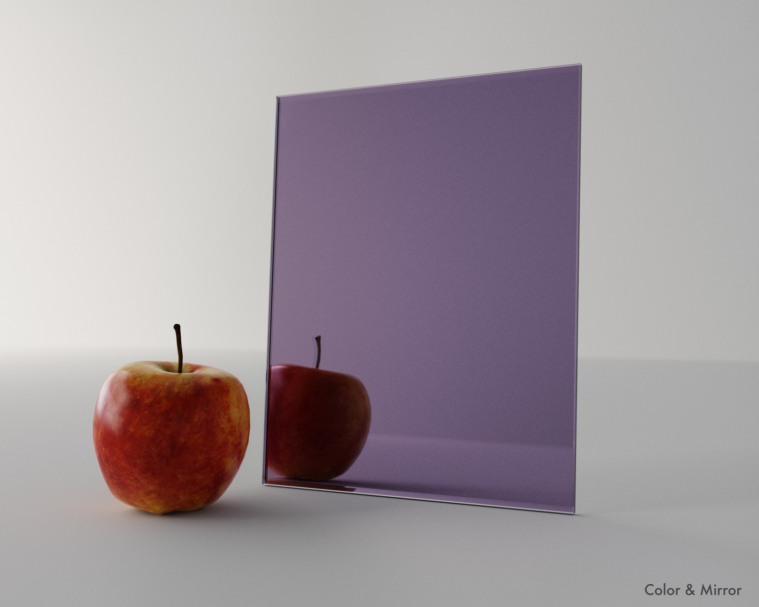 Studio photo of custom purple mirror.  Click here to see the full collection of purple and other colorful mirror.