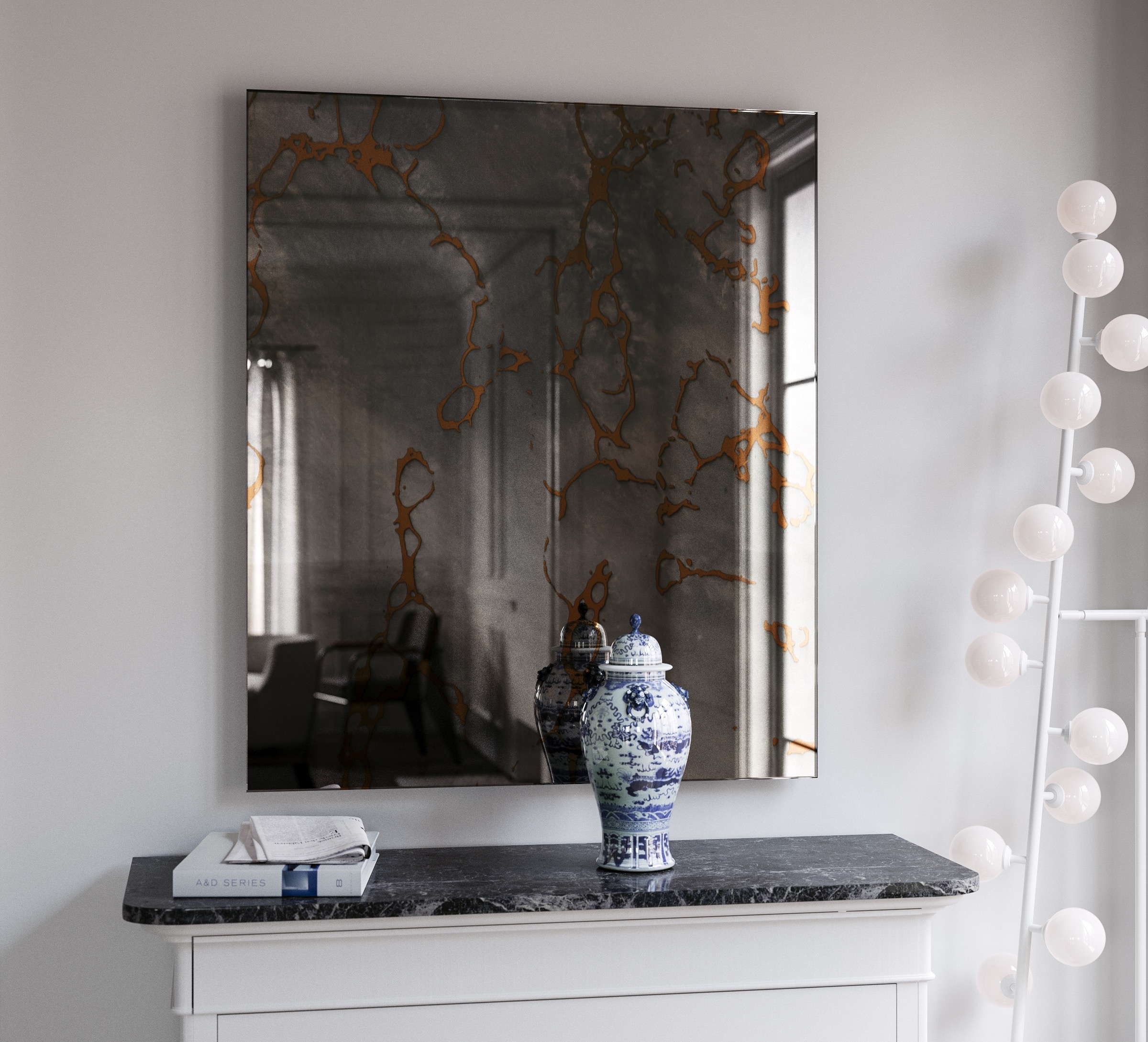 Hand Made Antiqued Wall Mirror