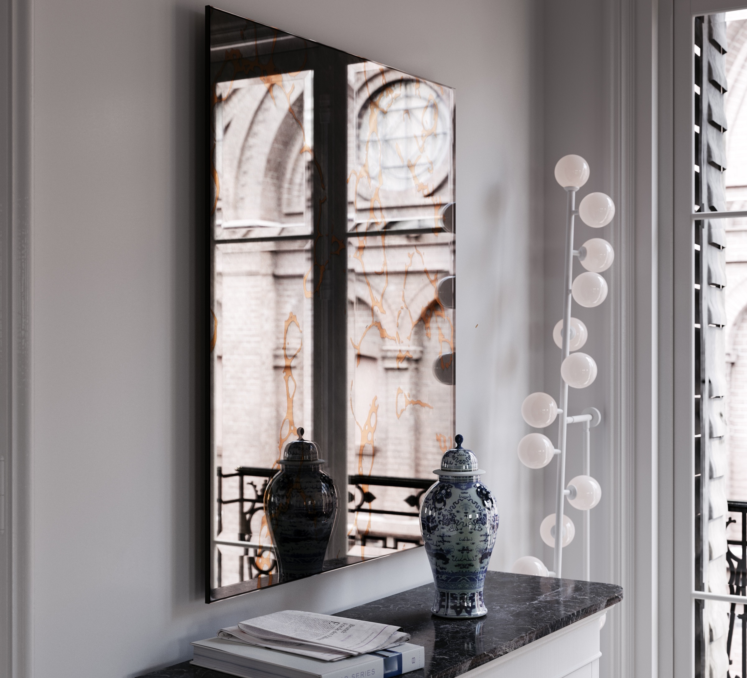 Close view of Antiqued Wall Mirror