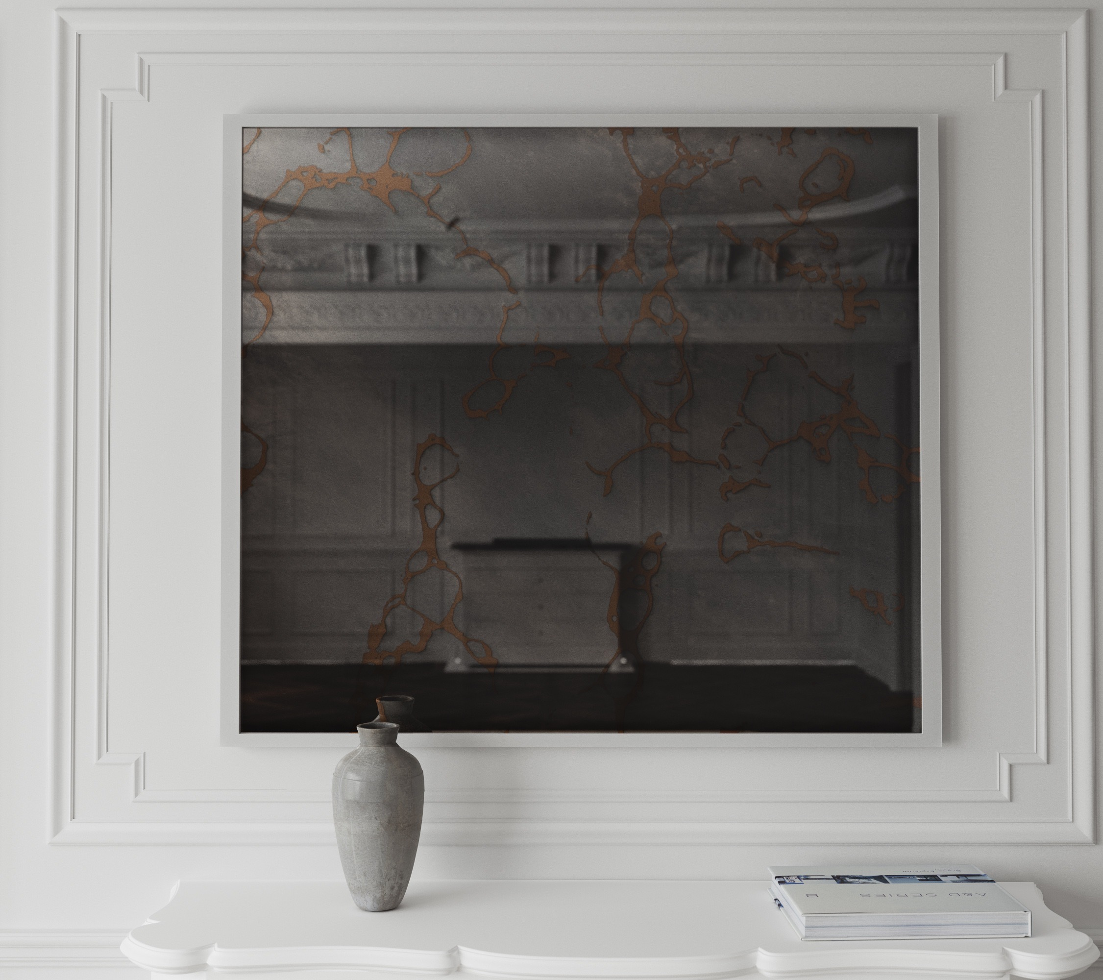 Frame antiqued wall mirror