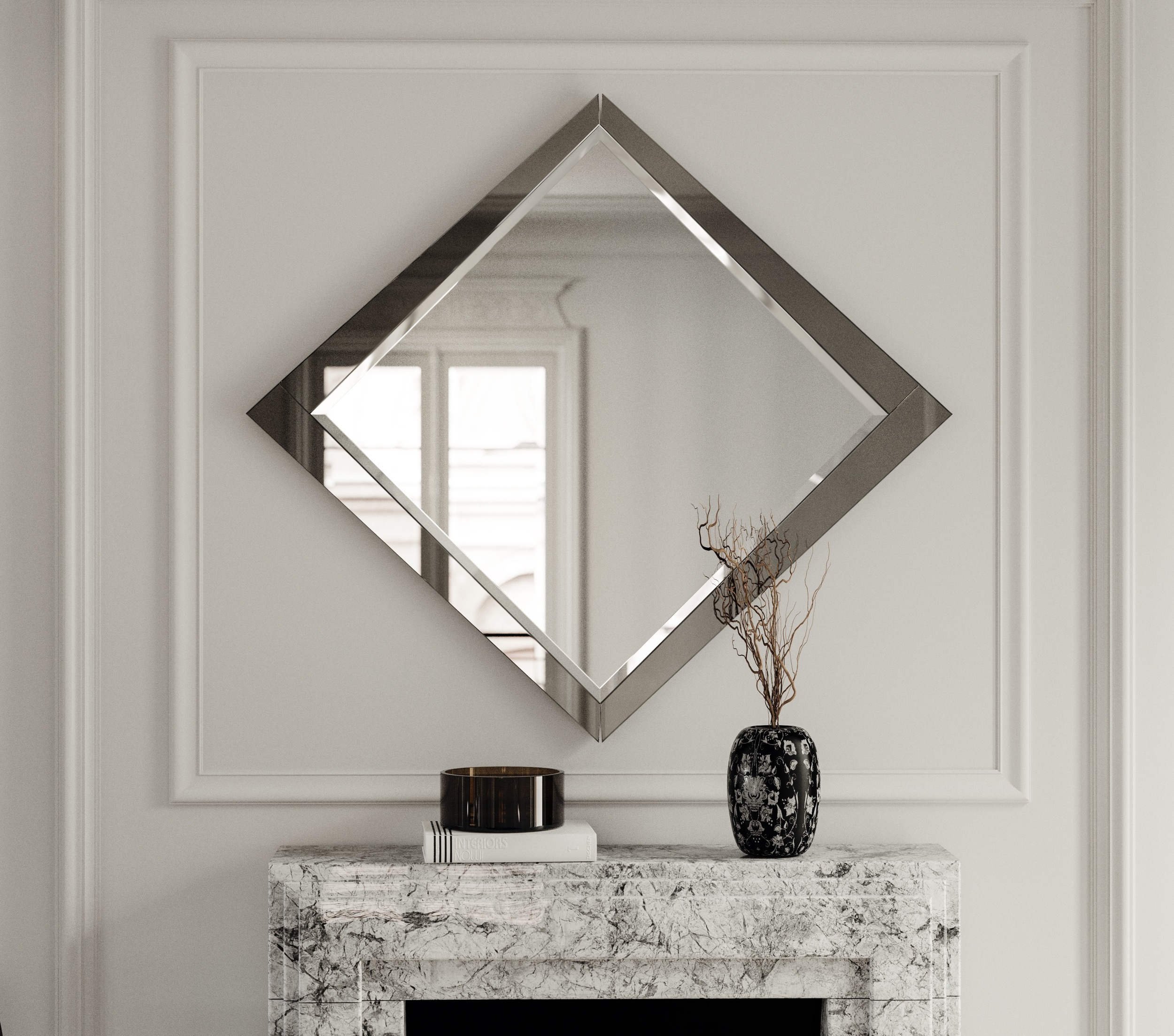 Art Deco Wall Mirror photographed in situation