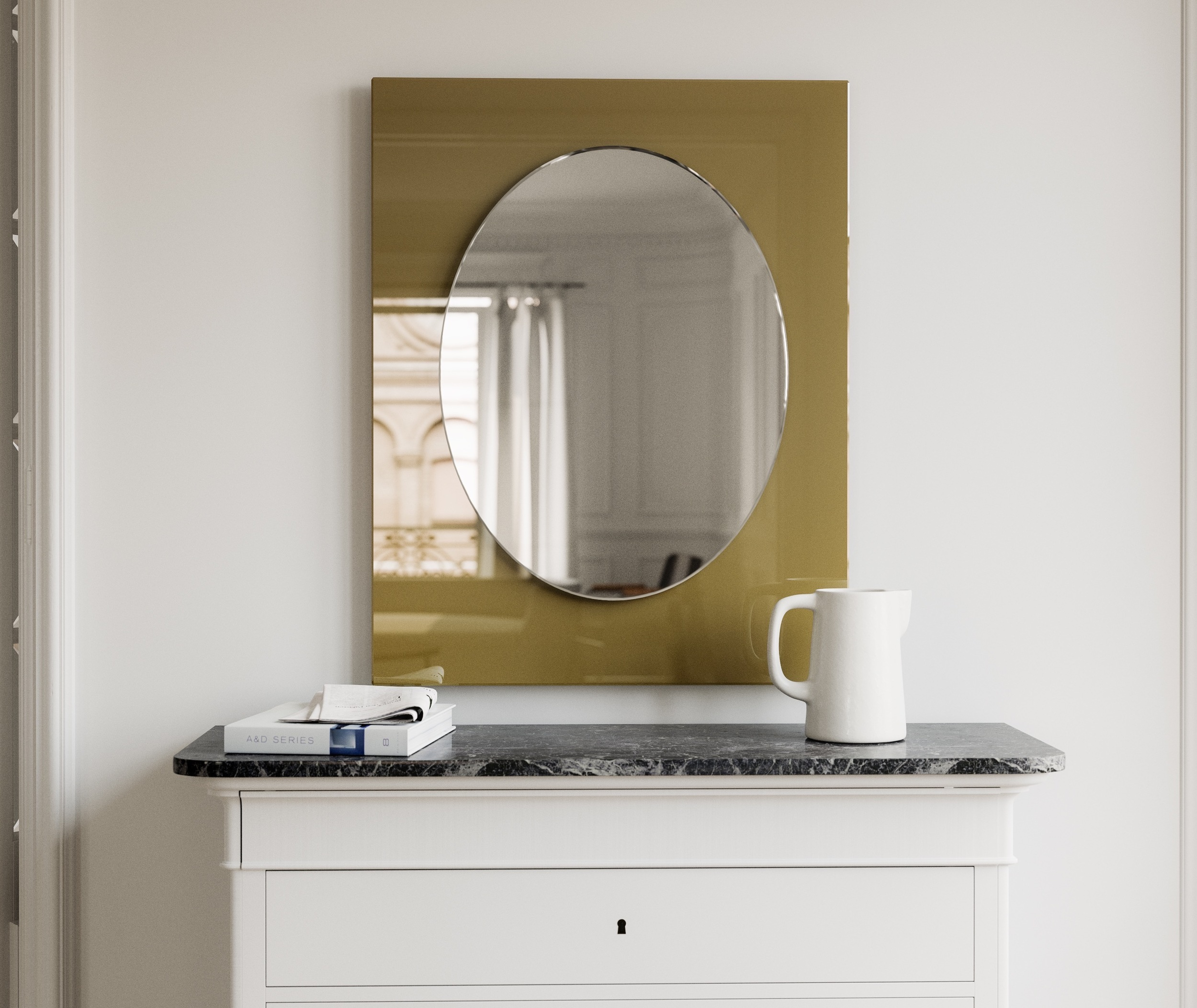 Modern Yellow Glass Mirror