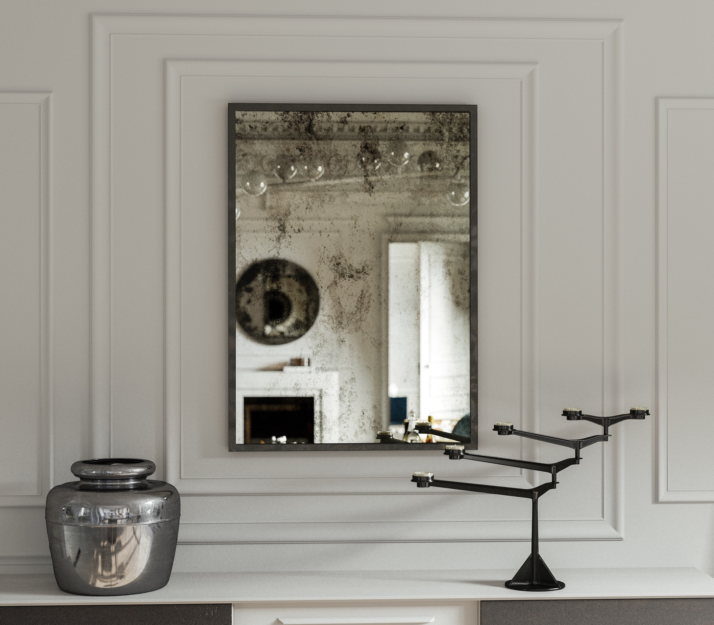 Front view of Antiqued, Verre Eglomise Wall Mirror