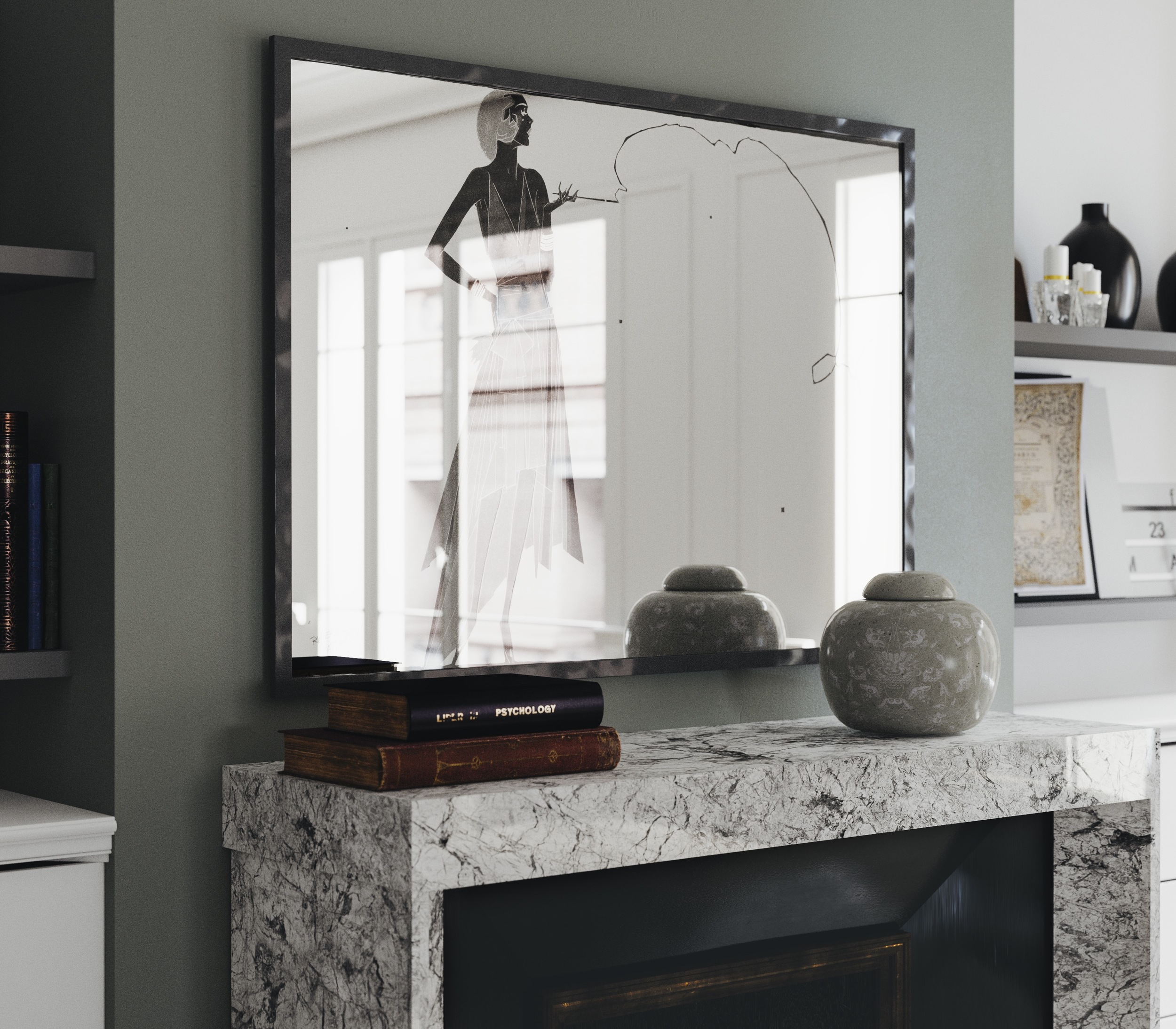 Side view of modern yellow wall mirror