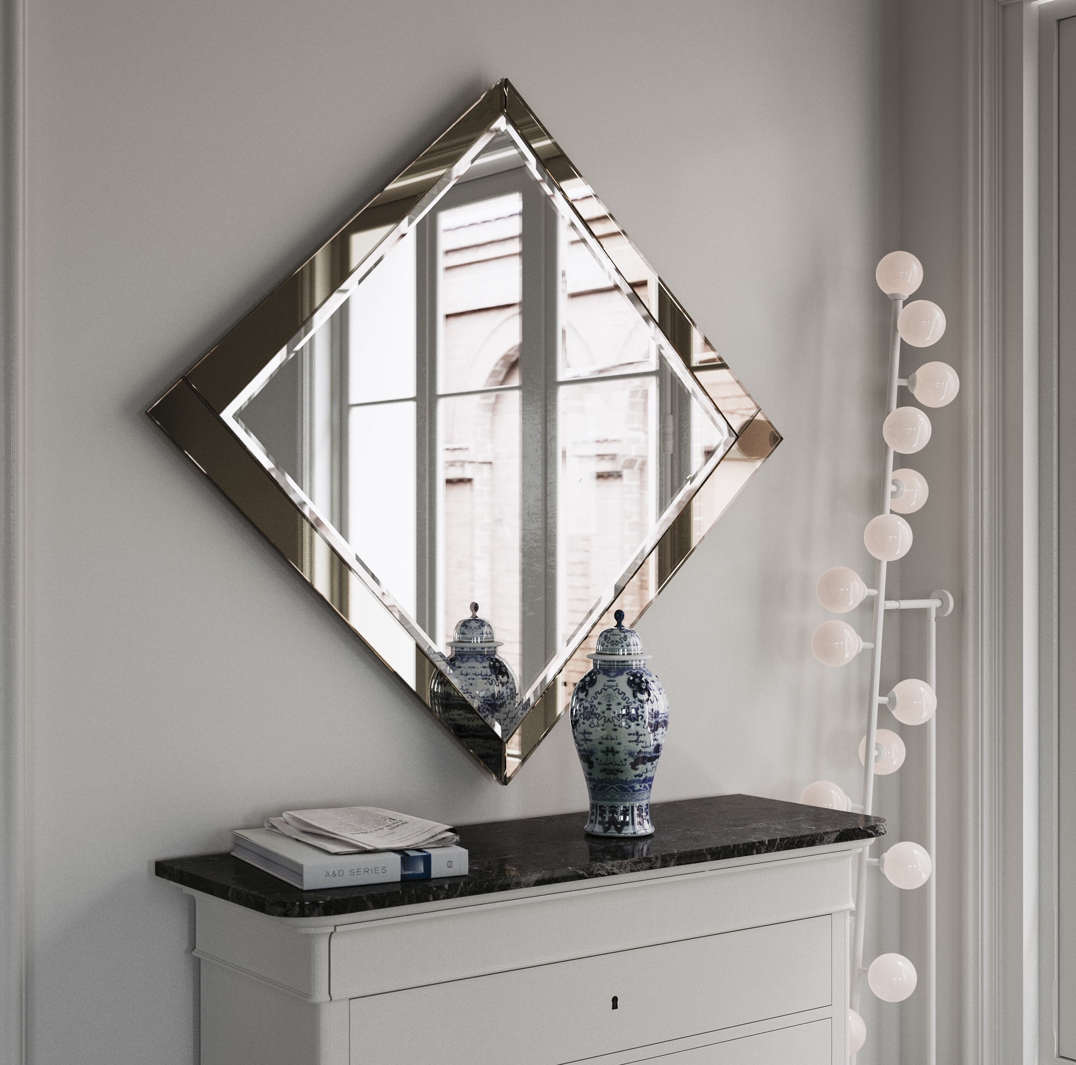 Mirror photographed from the side