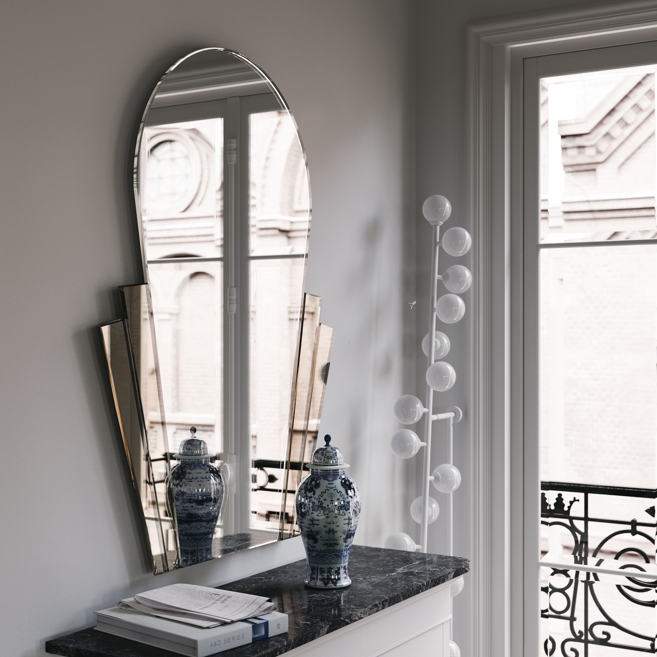 Side view of the same mirror
