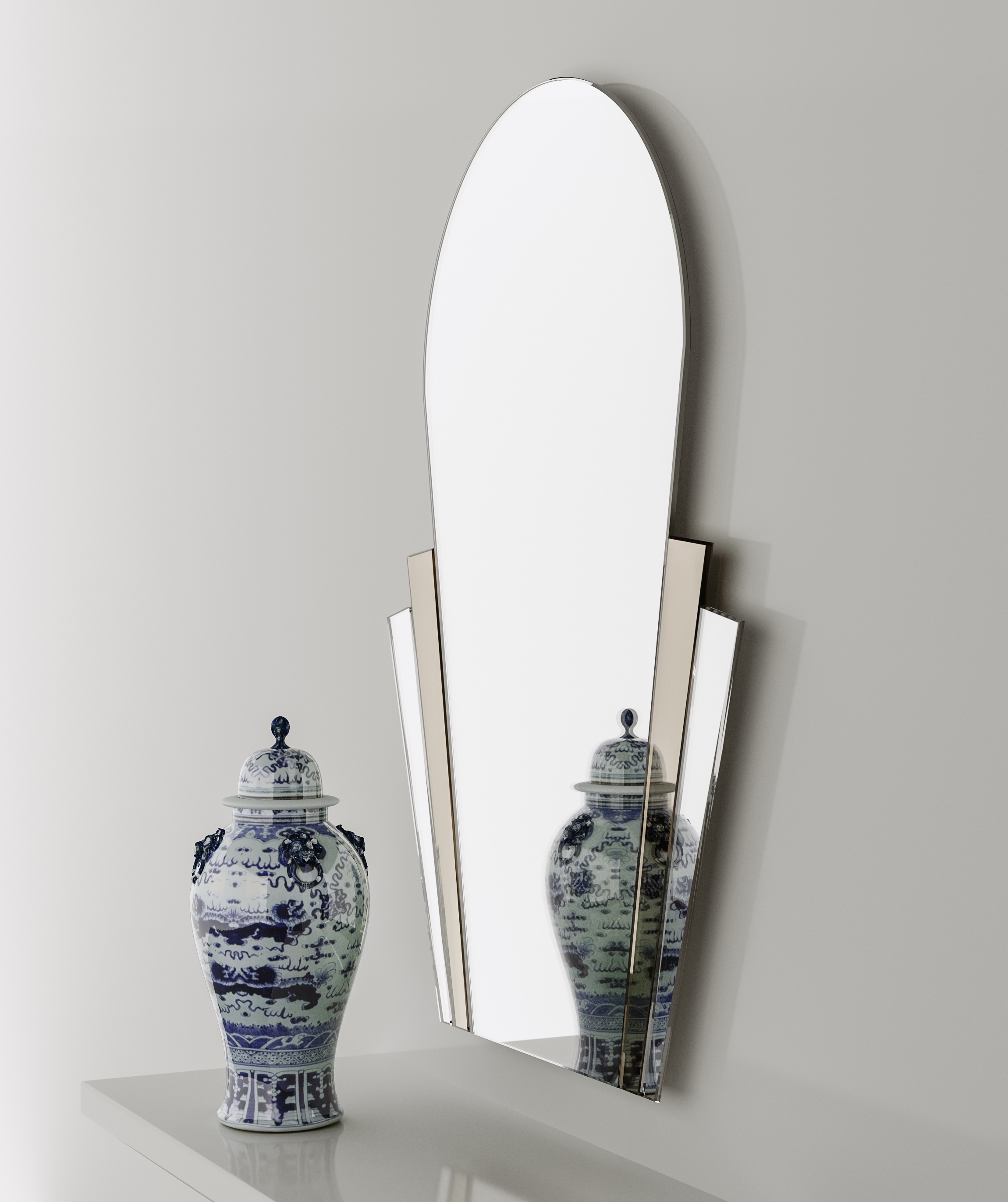 Side view of Art Deco mirror