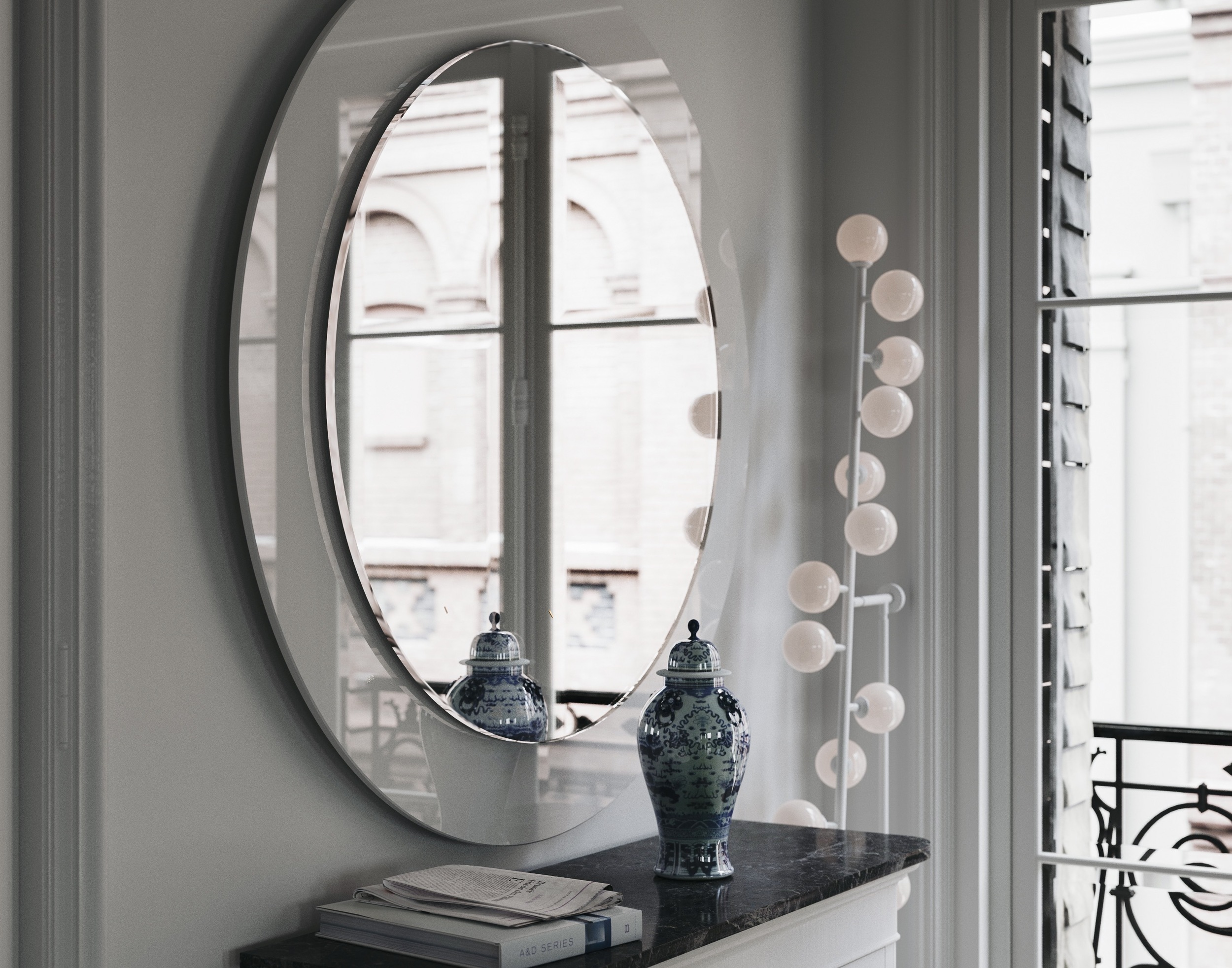 Same mirror photographed from the side