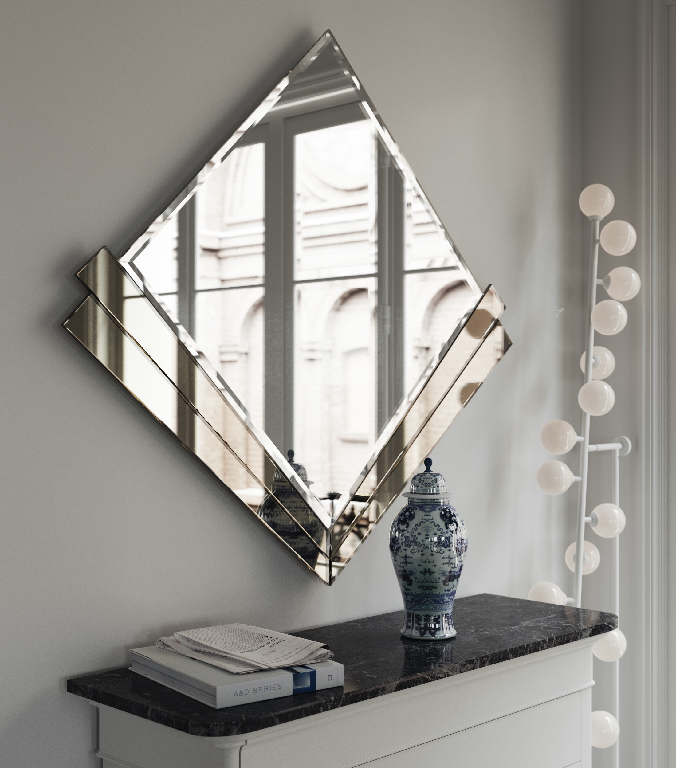 Side view of Art Deco style Wall Mirror