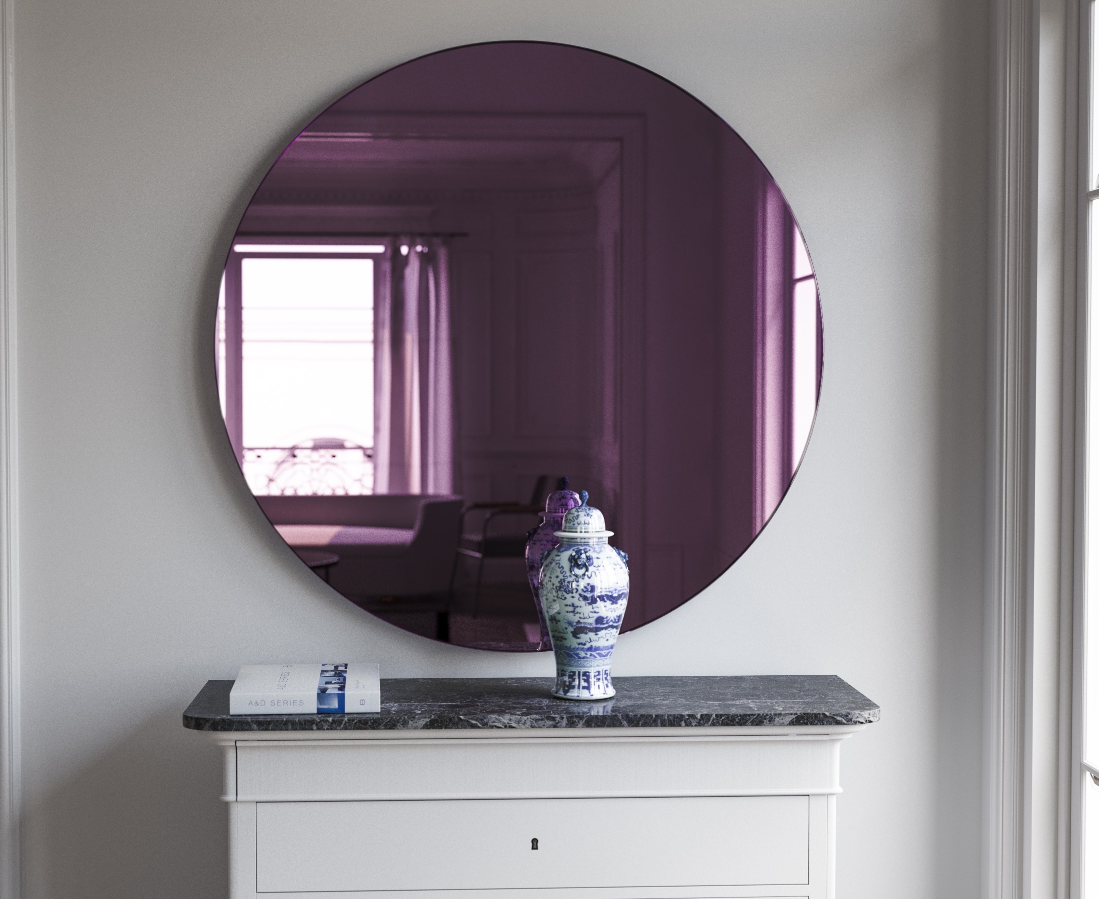 Pink Wall Mirror photographed in situation
