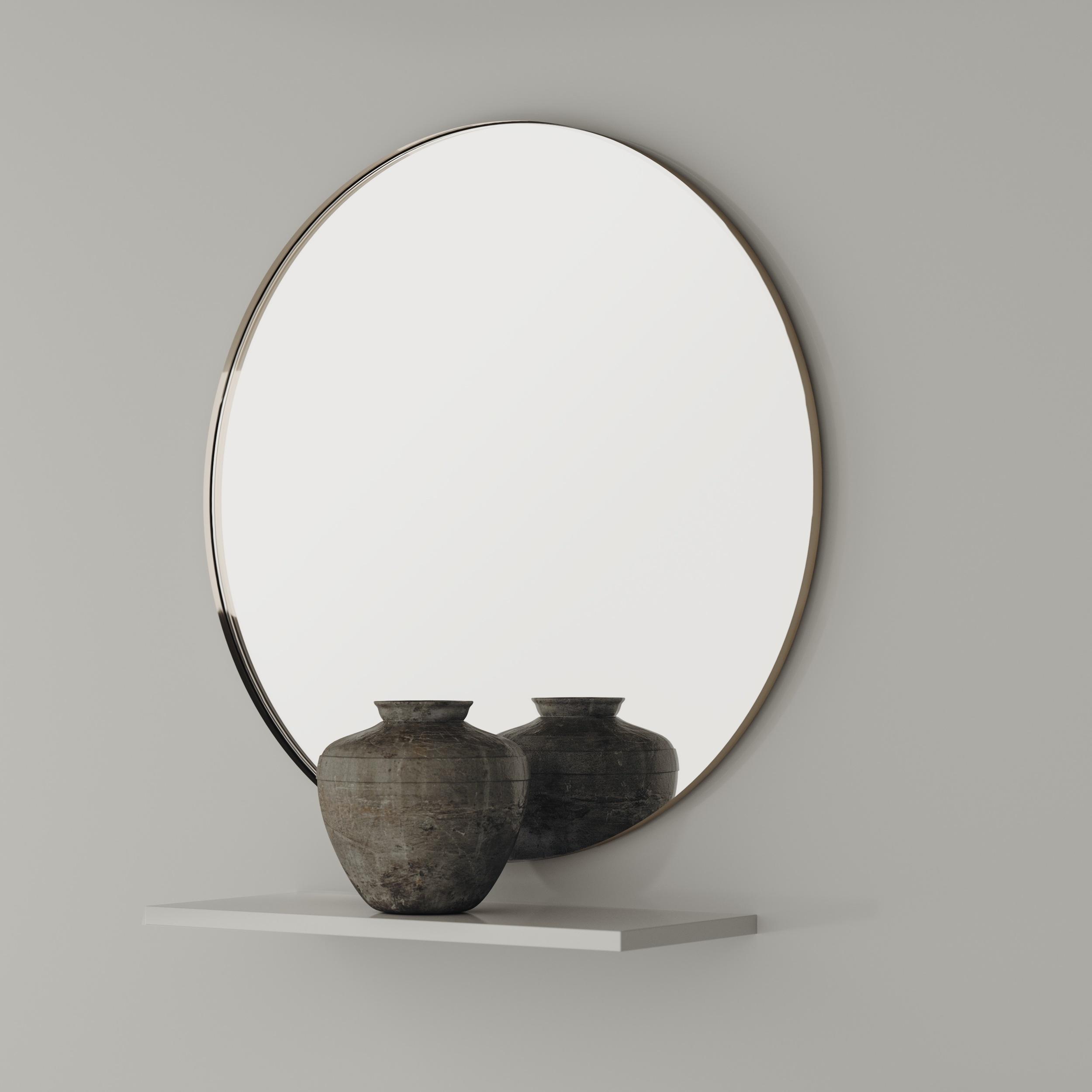 Round mirror with golden frame