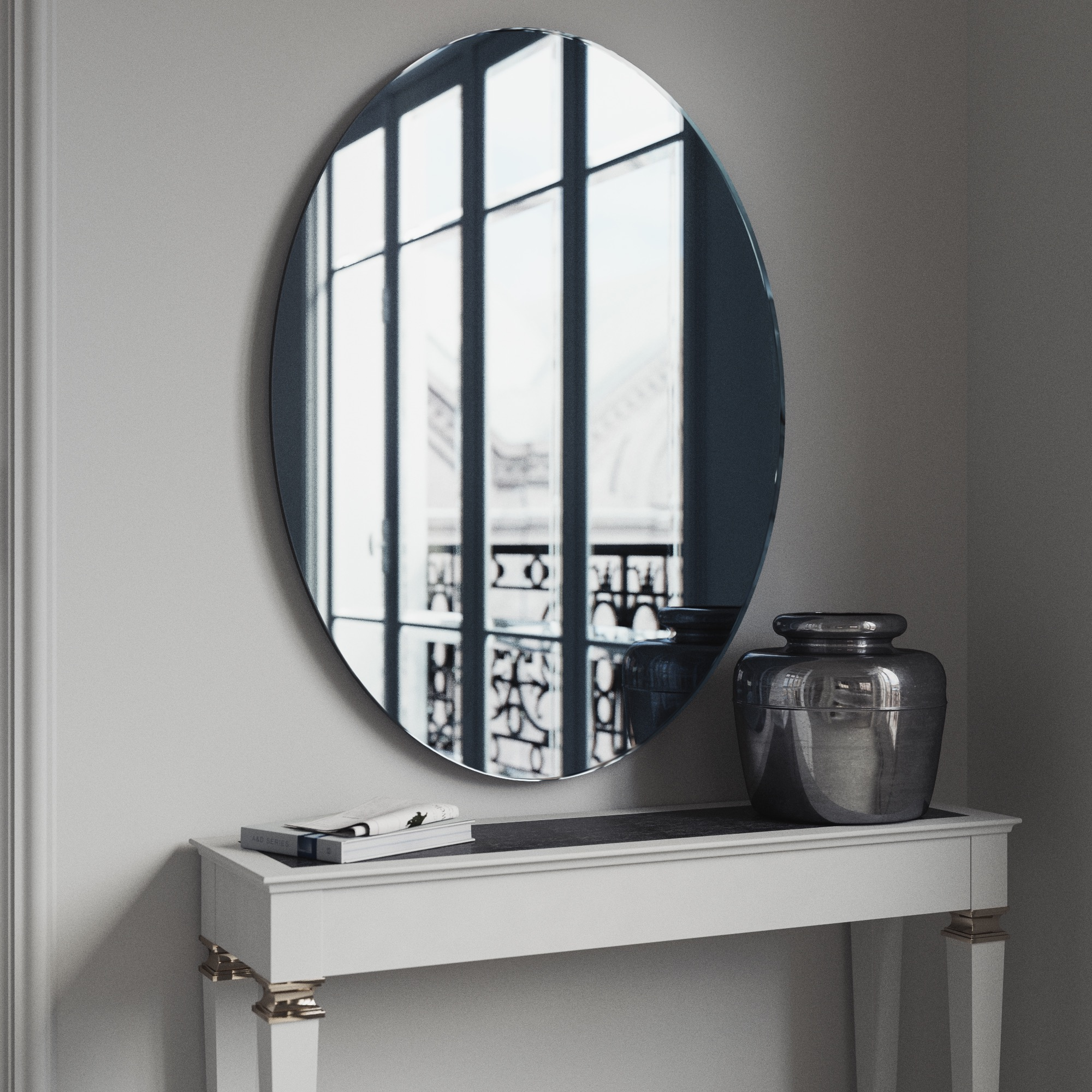 Oval BLue Mirror