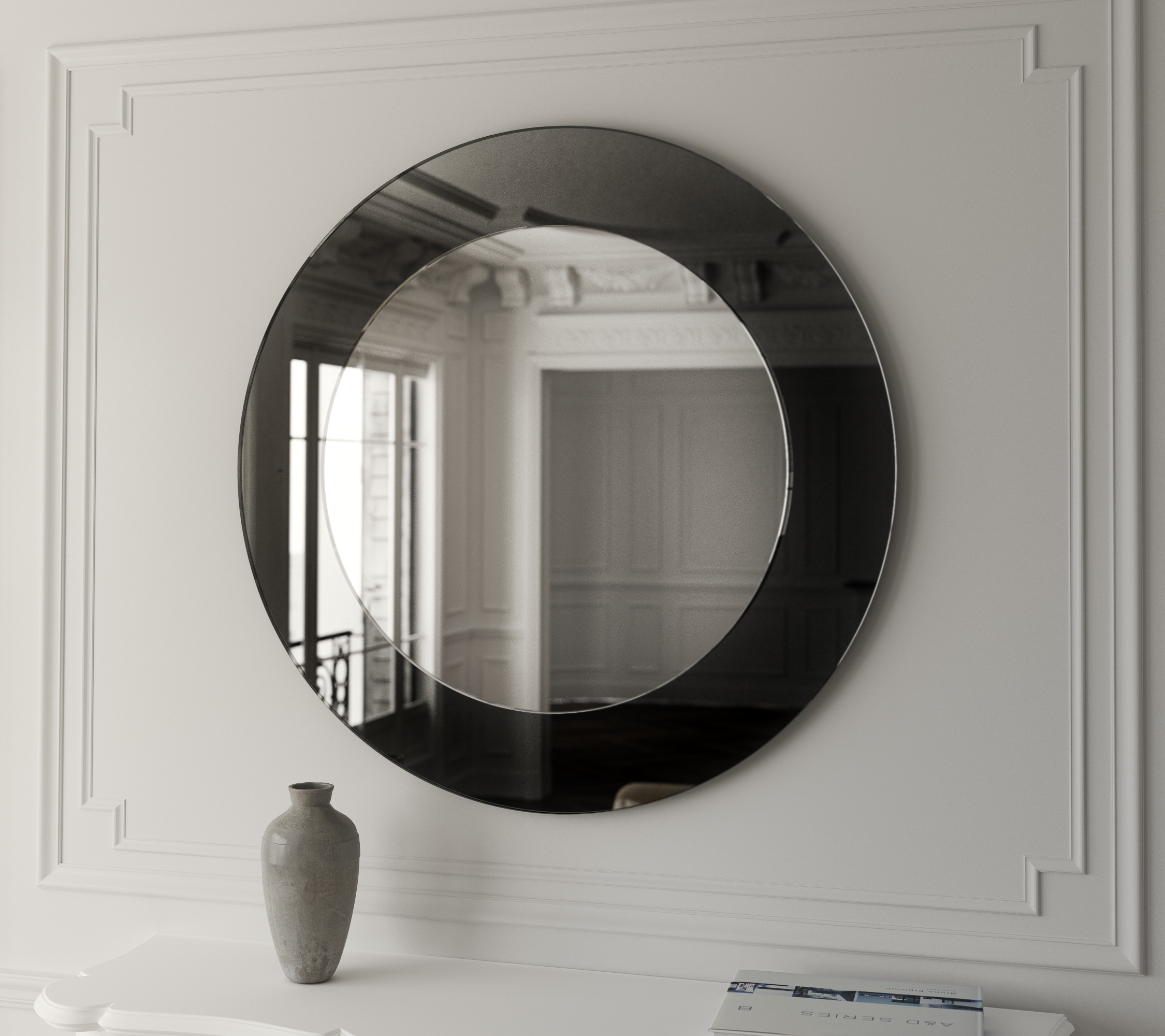 Round Black Art Deco Mirror photographed in New York City