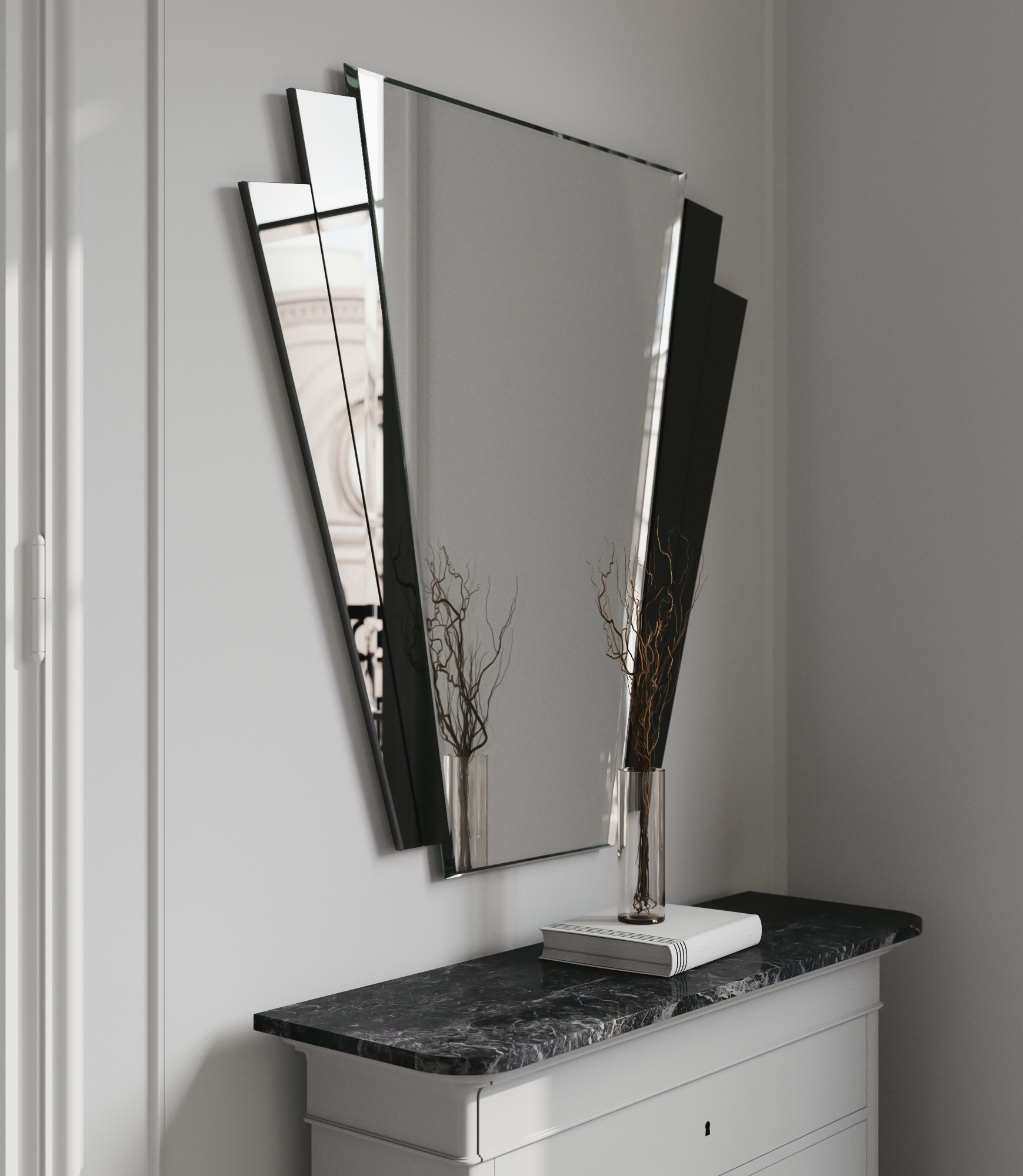 Fantail mirror photographed from side
