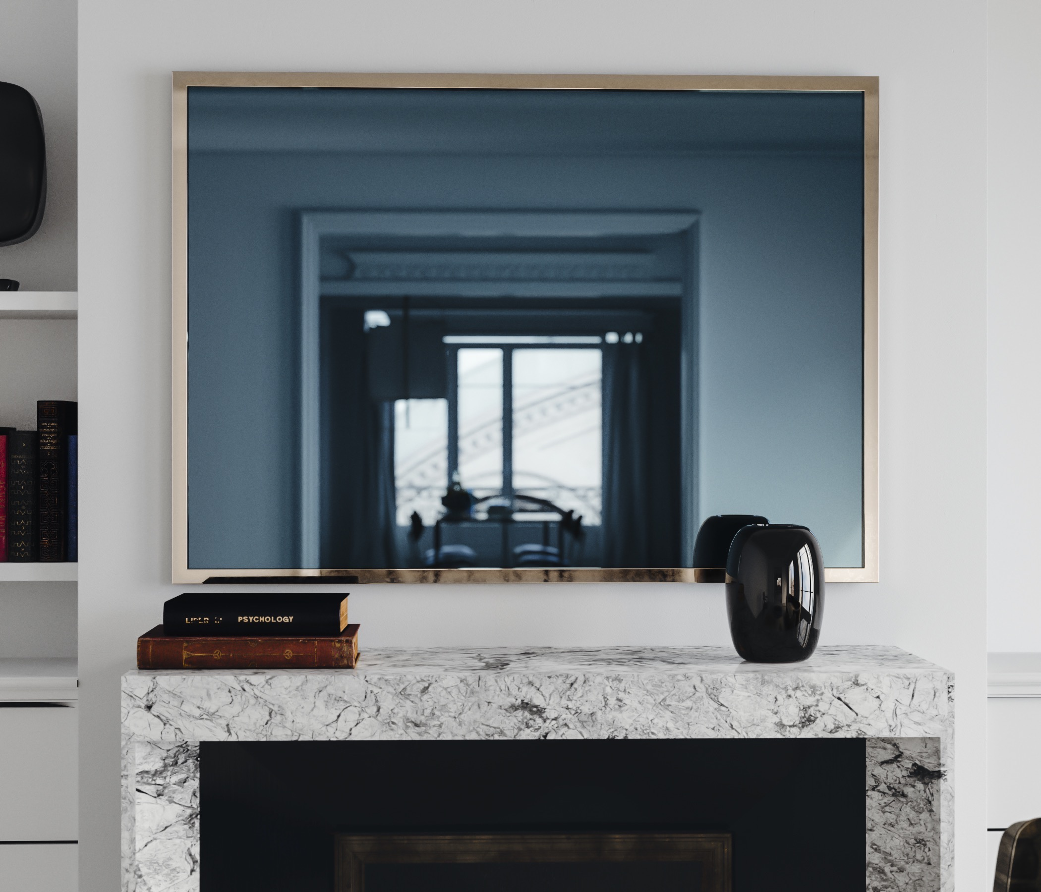 Blue Mirror with Golden Frame photographed in Sitution