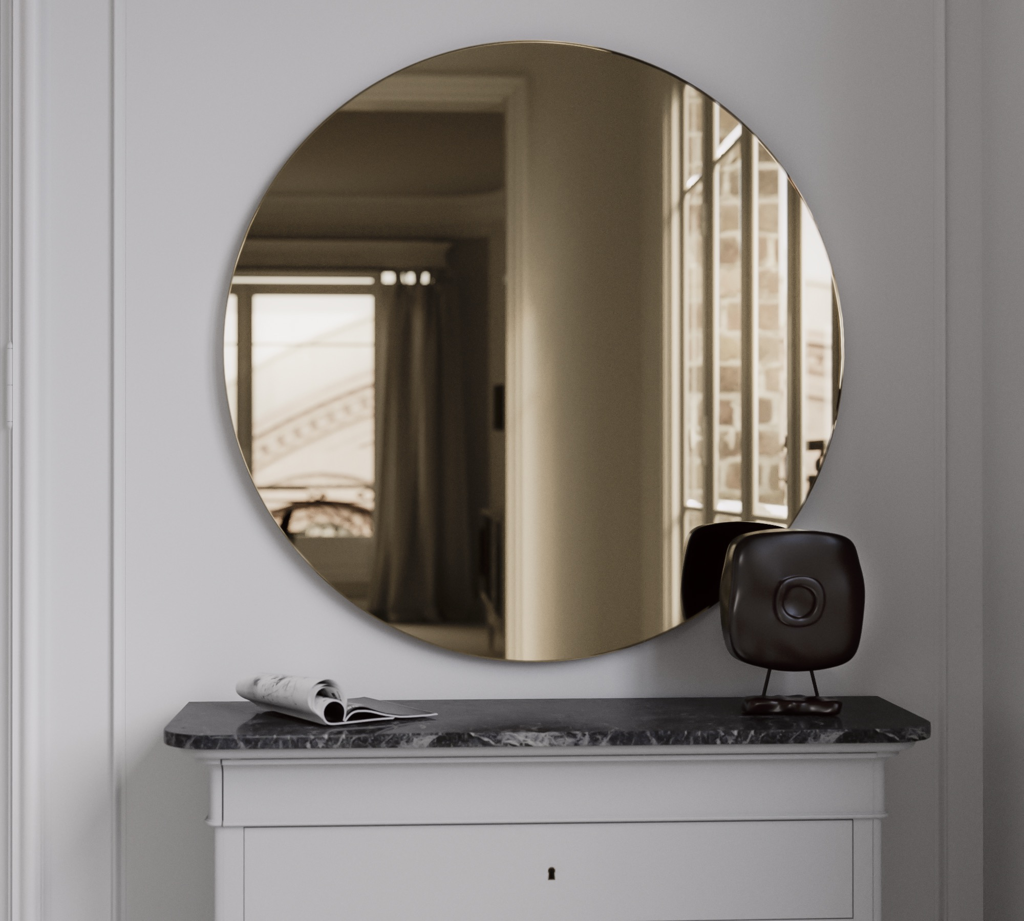 Golden Round Mirror without Clear Overlay