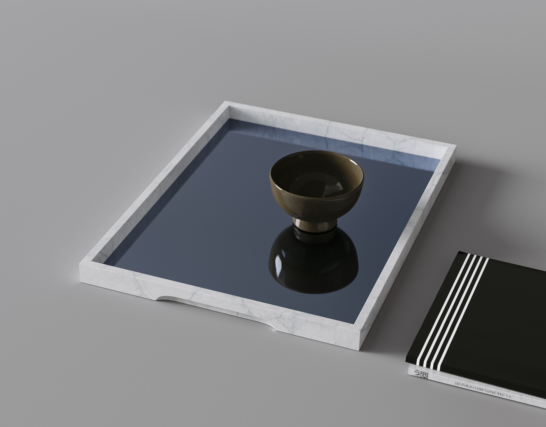 Marble Tray with Blue Inlay