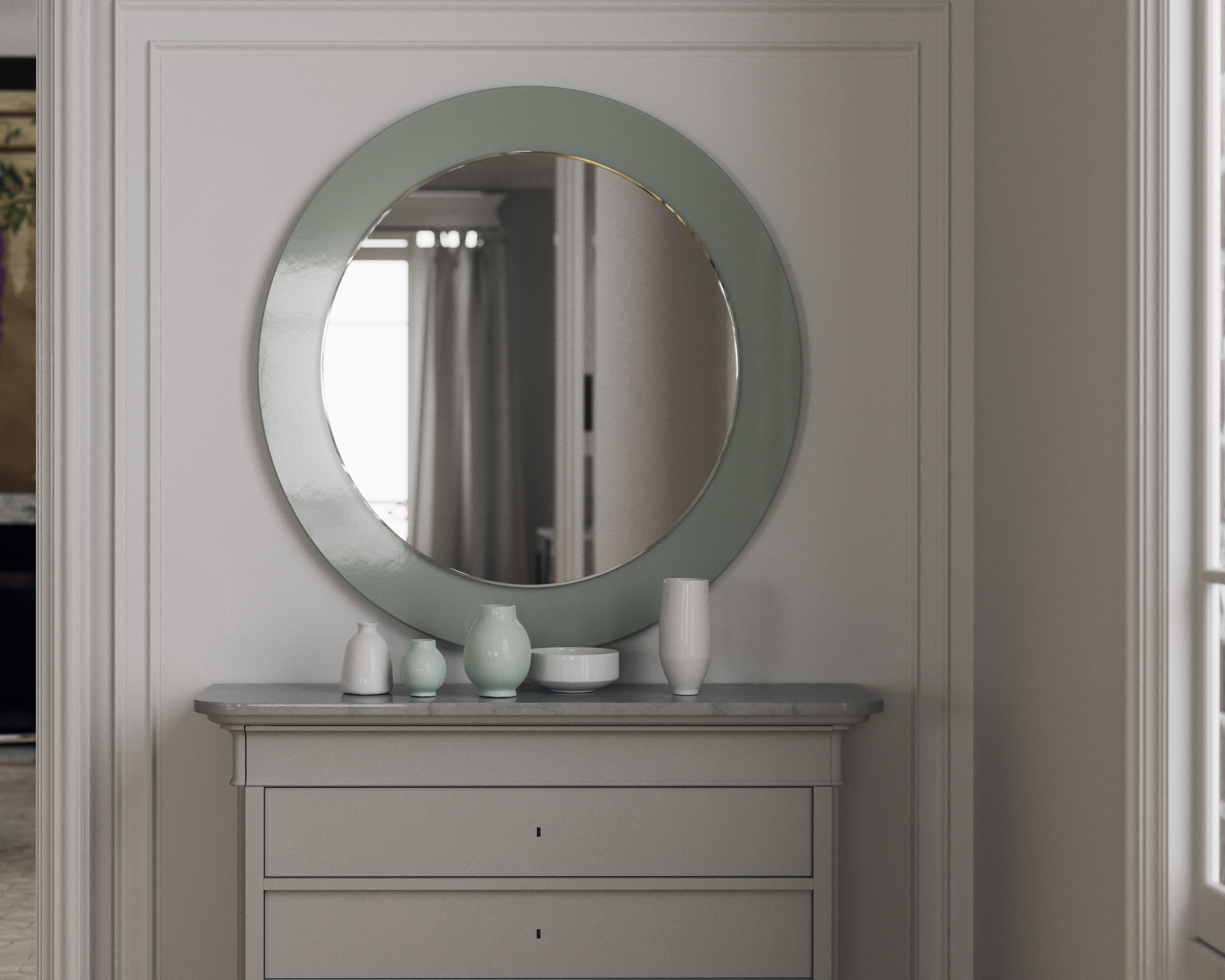 Full view of green Round Mirror