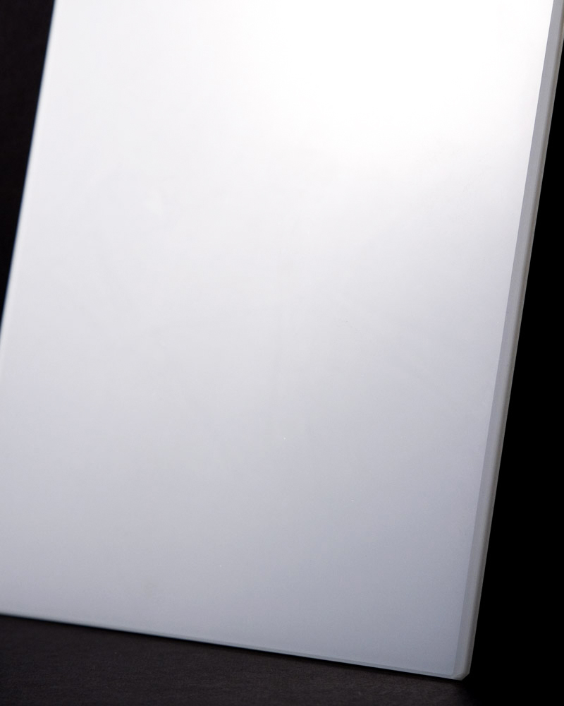 Studio photo of white glass swatch by Color & Mirror