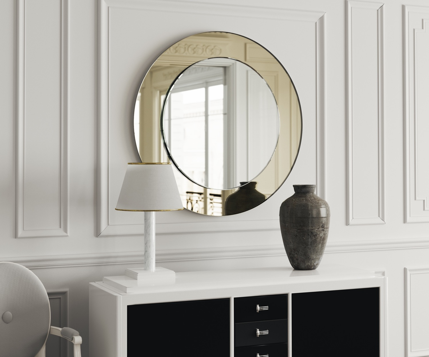 Light gold mirrored border on this Art Deco wall mirror