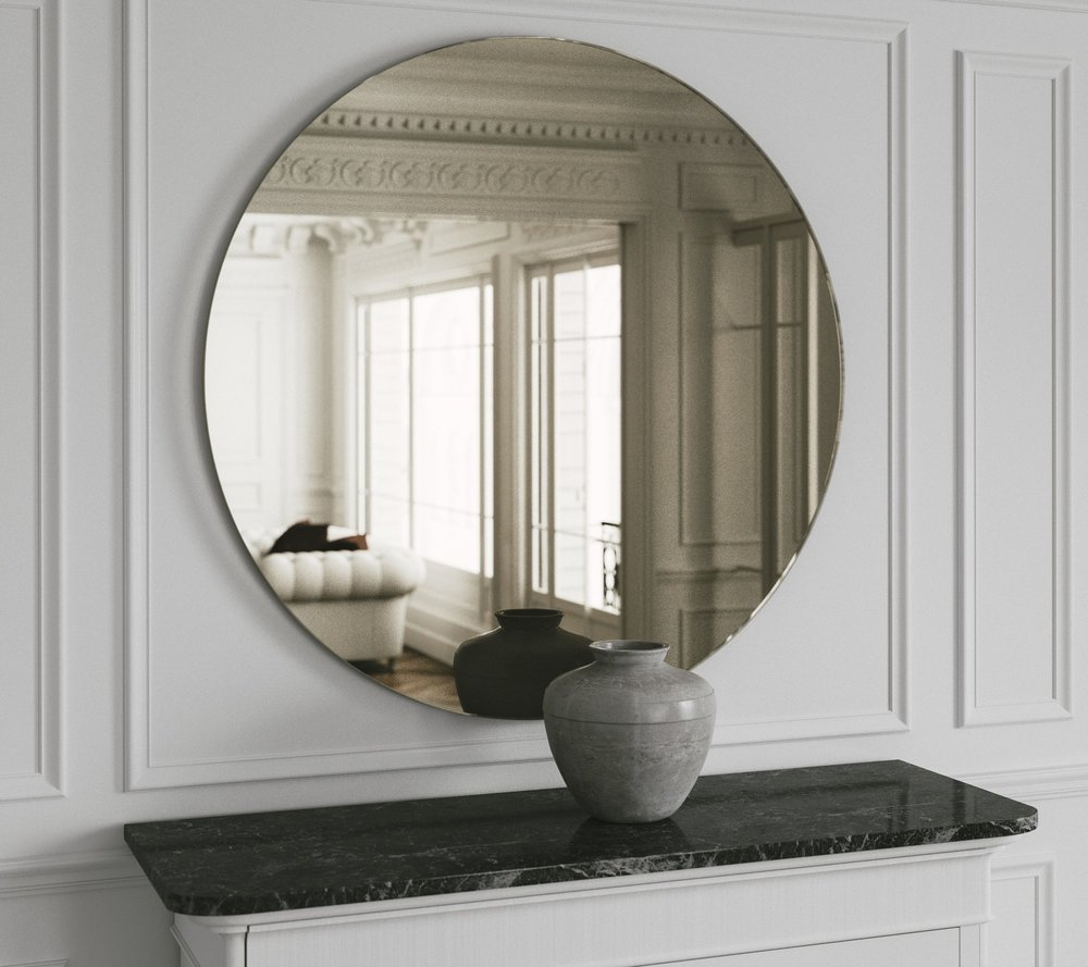 Classic Art Deco style mirror with golden mirror