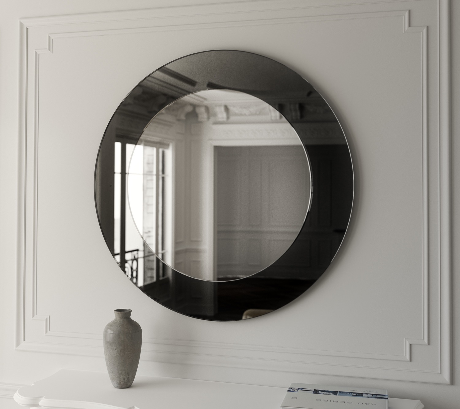 Black mirrored border on this Art Deco wall mirror