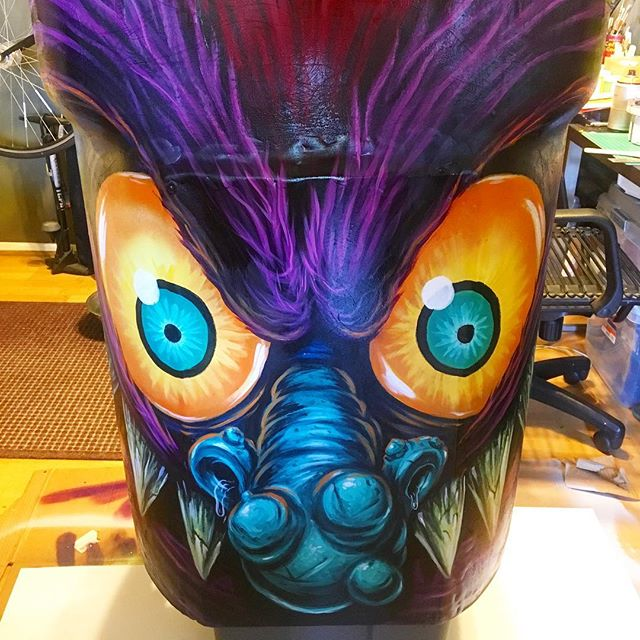 Good monster morning! This beast is ready to feast. Come out tonight to see the full bin. @globalinheritance ➡️ swipe for event details #trashedcoachella #artofrecycling #mypetmonster #monstersquad