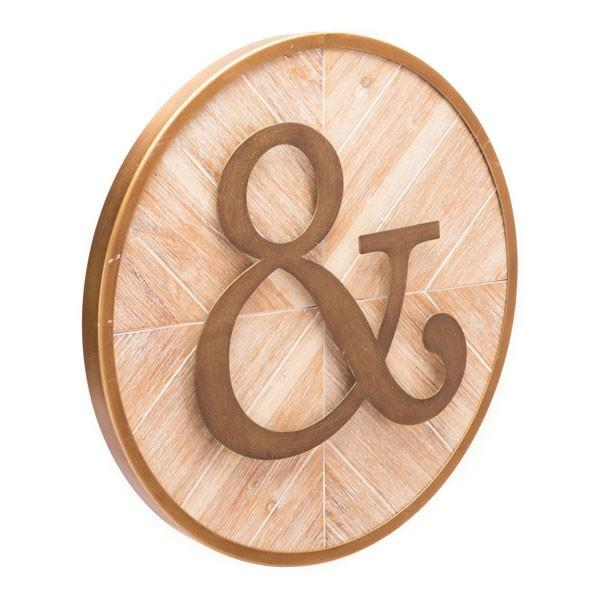 SO LUXE™ JOINED TOGETHER WALL ART - Nothing joins you together like this simple message. Our round And wall panel has a rustic antique vibe, and will look great in a kitchen, entryway, or as part of a gallery wall. Makes a nice wedding gift. 15.7W X 15.7H X 1.2L