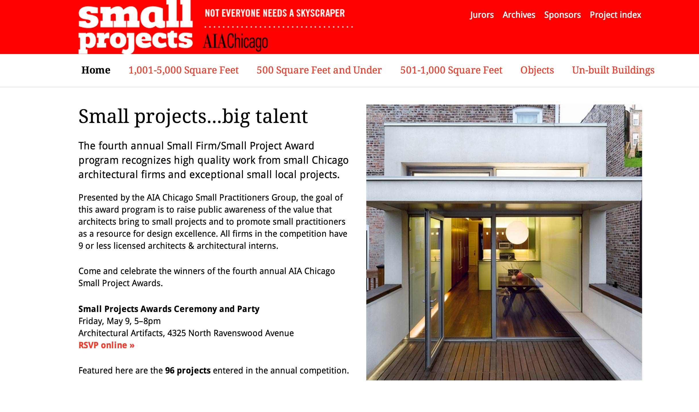 Invitation for the AIA Small Projects Awards party on May 9th in Chicago.  Link here