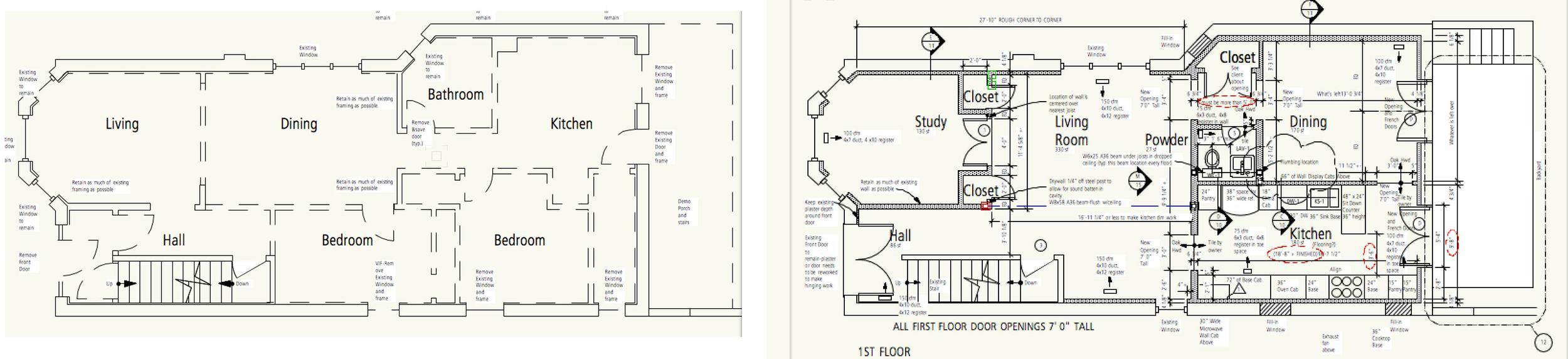Demo plan on the left and the construction plan on the right.