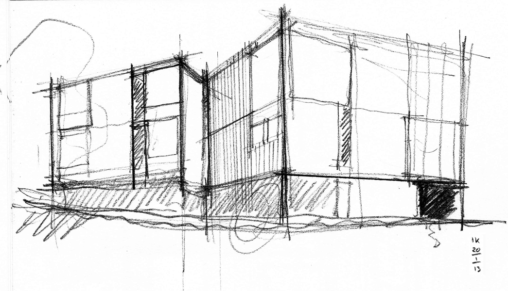 Louis Kahn's Sketch of the formal elevation that looks out over the view