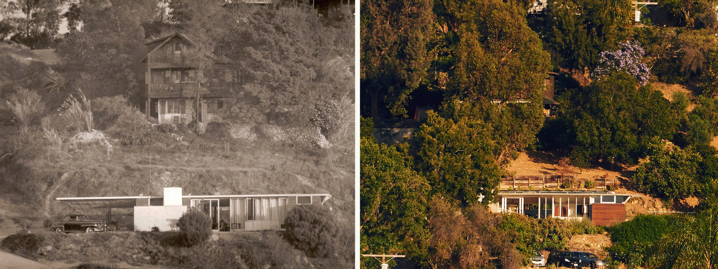 Lautner House in the 1940s (photo by the owners) and today (photo by Jake Michaels)