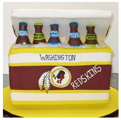 Redskin beer cooler groom's cake