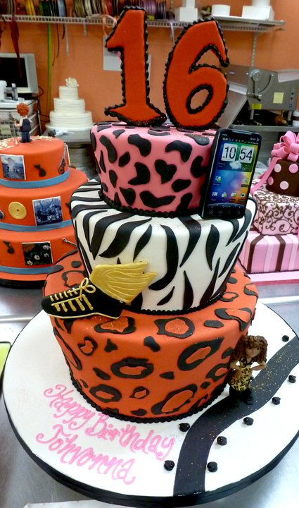 Animal Print Sweet Sixteen Cake