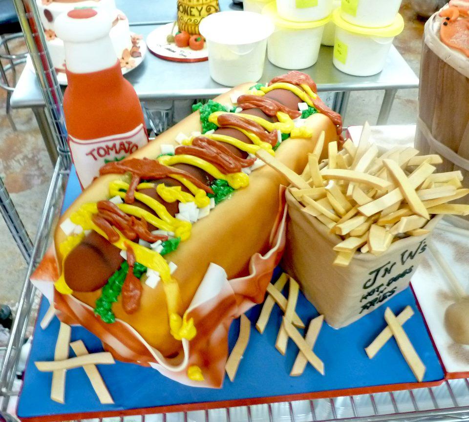 Hotdog and french fries cake
