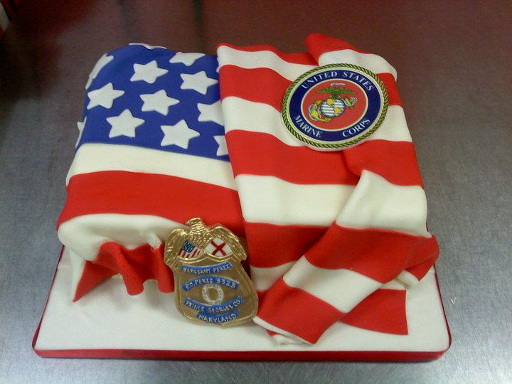 American Flag Groom's Cake