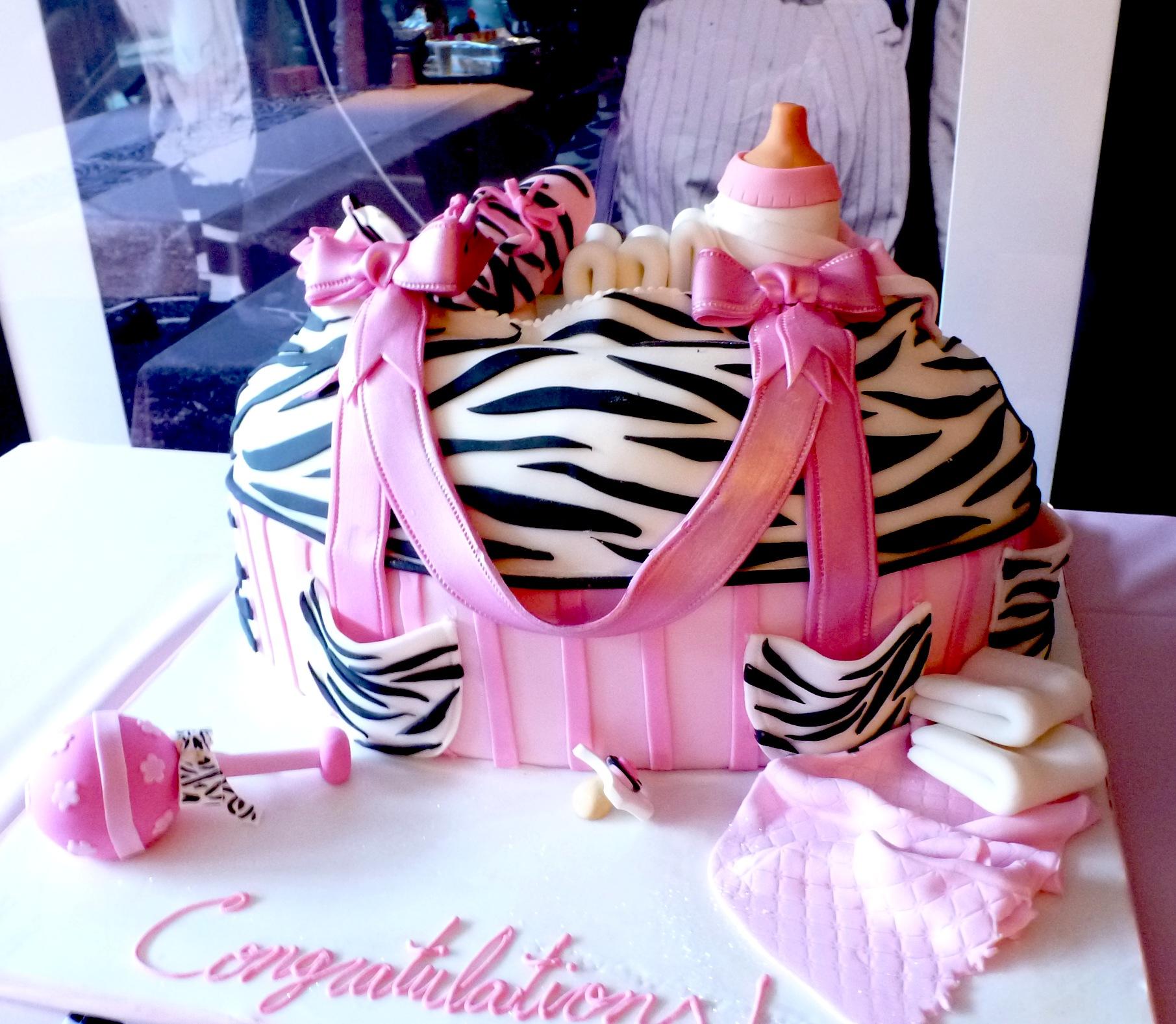 Zebra Skin Diaper Bag Cake