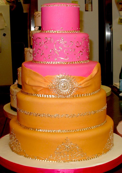 Wedding Cake in magenta and orange