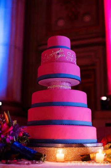 Wedding Cake with Magenta Fondant