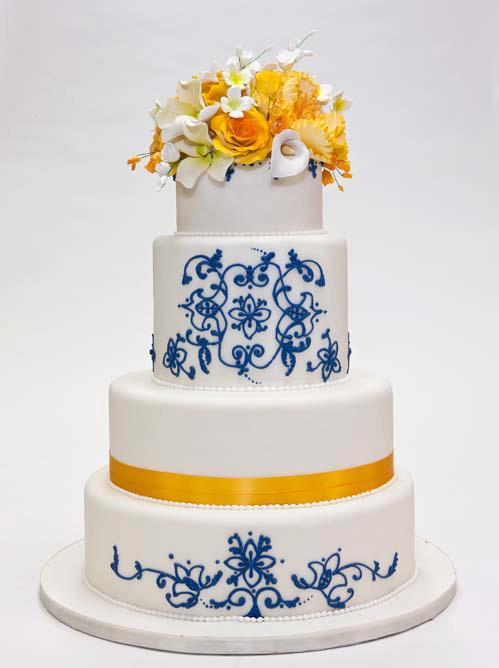 Wedding Cake with Blue and White Swirls