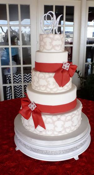 Wedding Cake with Red Bows