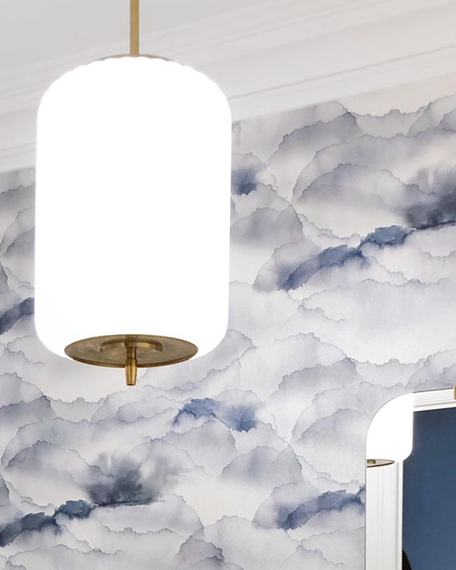 We had our head in the clouds picking this wallpaper. . . . #cromadesigned #designedbycroma #cromadoesleaside #powderroomdesign #powderoomwallpaper #circalighting #bathroominspo