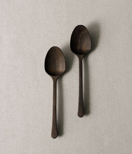 Sakura or walnut curry spoon from Japan. YoshiyukiKato's work is handmade and finished with small tools using techniques to create subtle textures and enhance the inherent beauty of the natural material.  YOSHIYUKI KATO $21.93