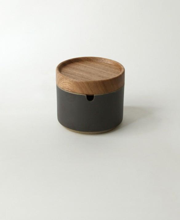 Black modular porcelain sugar pot with dark charcoal color and soft sand texture.  HASAMI $36