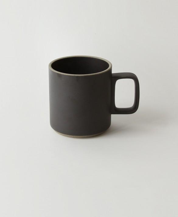 Tall black mug with soft sand texture.  HASAMI $30